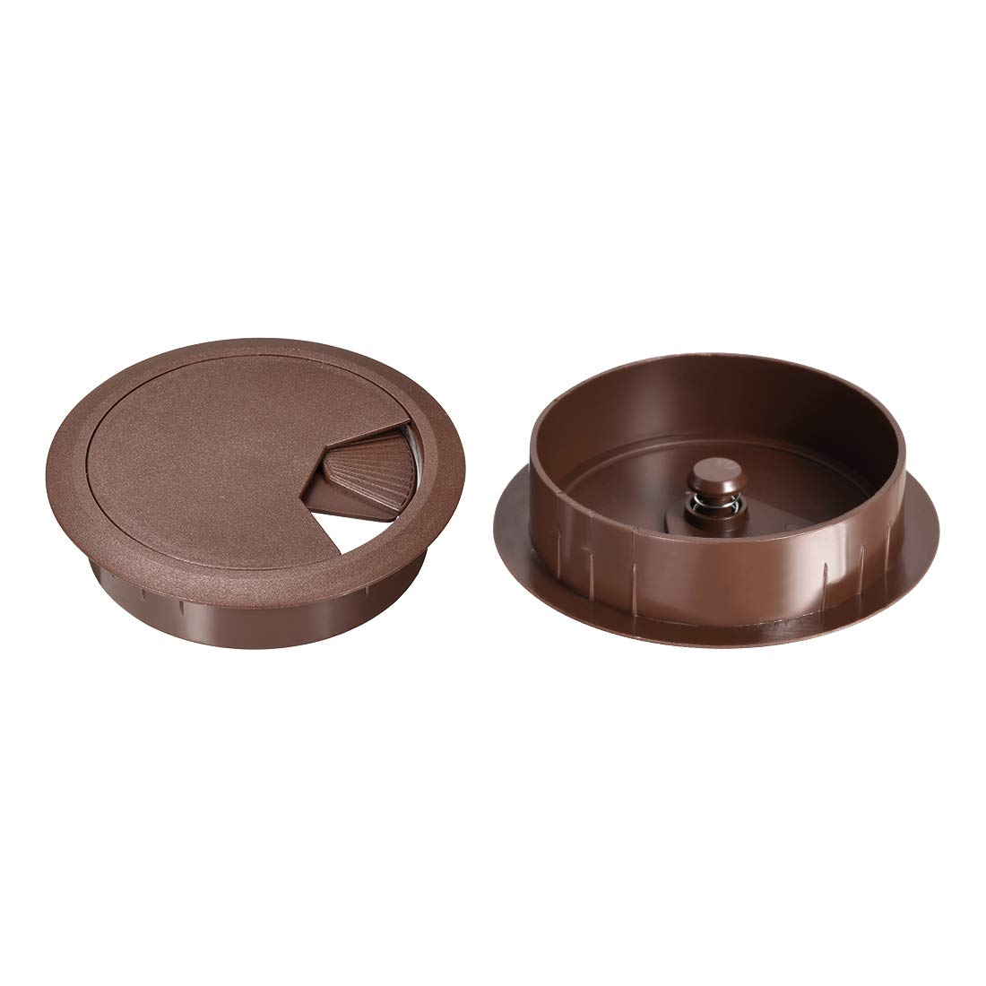 uxcell Cable Hole Cover, 3-3/20'' Plastic Desk Grommet for Wire Organizer 20Pcs (Brown)