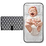 Lekebaby Portable Changing Pad Waterproof Baby Change Mat Foldable Travel Diaper Clutch with Built-In Pillow, Arrow Print, Grey