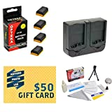 4 Extended Life Replacement Battery Packs For the Canon LP-E6 LPE6 1750MAH Each 7000MAH in Total For Canon EOS 5D Mark 2 3 II III 5DM2 5DM3 6D 7D 60D 60Da 70D DSLR Digital Camera 4 Batteries In Total + 1 hour AC/DC Dual Battery Rapid Charger + Deluxe Lens Cleaning Kit + LCD Screen Potectors + Mini Tripod + 47stphoto Microfiber Cloth Photo Print !