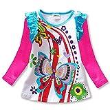 VIKITA Little Girls Cute Flower Long Sleeve Cotton T-Shirt Top L3916FUCH 8T