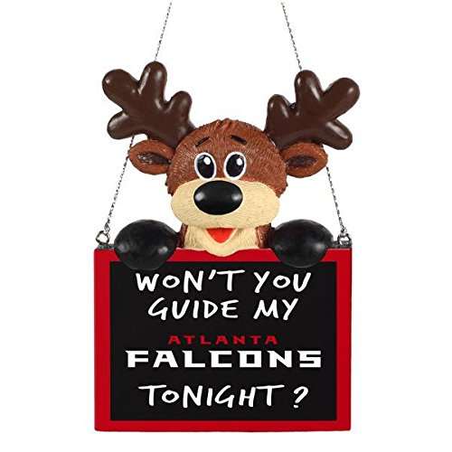2015 NFL Football Team Logo Reindeer With Sign Holiday Tree Ornament - Pick Team (Atlanta Falcons)