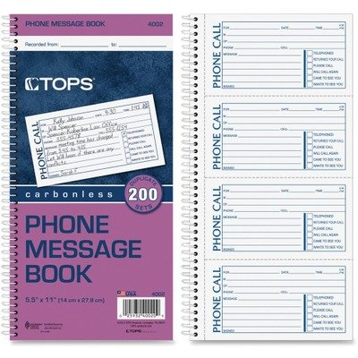 TOP4002 - Tops Spiralbound Message Book by Tops