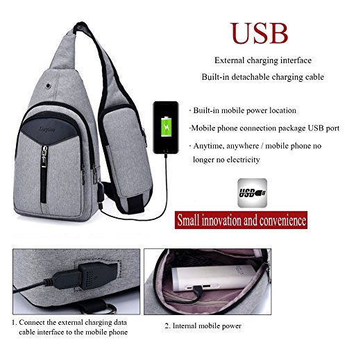 Crossbody With amp; Sling Rope Bags Sxelodie Charging Bag For Daypack Shoulder Chest Gray Usb Backpack Men Women Port xCqYdwzZ