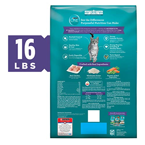 Purina ONE Hairball, Natural Dry Cat Food, Hairball Formula - 16 lb. Bag