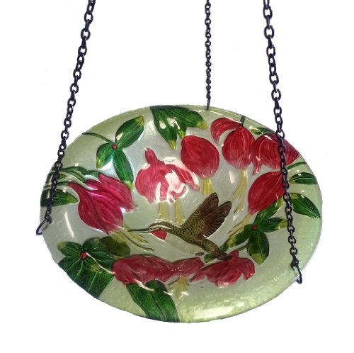 Continental Art Center CAC2609471 Hanging Hummingbird Glass Bird Feeder with Iron Chain, ()
