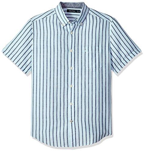 Nautica Men's Short Sleeve Classic Fit Striped Linen Button Down Shirt, Harbor Mist, Large