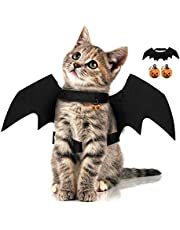 Halloween Pet Bat Wings with 2pcs Pumpkins Bell Cat Dog Bat Costume Halloween Pet Costumes Accessories for Small Dogs and Cats