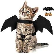 Halloween Pet Bat Wings with 2pcs Pumpkins Bell Cat Dog Bat Costume Halloween Pet Costumes Accessories for Sma