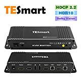 HDMI Switch 4K, TESmart New HDMI 4K@60Hz Ultra HD 2x1 HDMI KVM Switch 3840x2160@60Hz 4:4:4 with 2 Pcs 5ft KVM Cables Supports USB 2.0 Devices Control up to 2 Computers/Servers/DVR