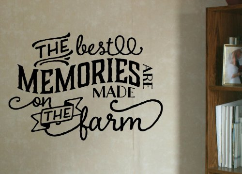 Wall Decor Plus More WDPM2984 The Best Memories Made On Farm Vinyl Wall Decal Country Quote, 23x16-Inch, ()