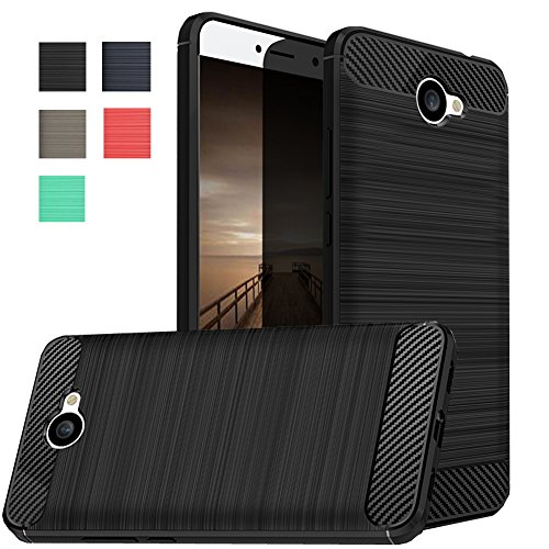 Huawei Ascend XT 2 Case, Huawei Elate 4G LTE Case, Dretal Carbon Fiber Shock Resistant Brusd Texture Soft TPU Phone case Anti-fingerprint Flexible Protective Cover For Huawei Ascend XT2 H1711 (Black)