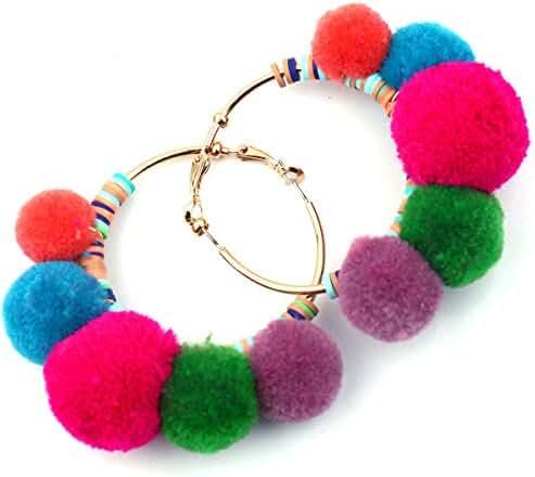 Women Hoop Earrings Statement Gold Pom Poms Fashion Big charm Jewelry 755