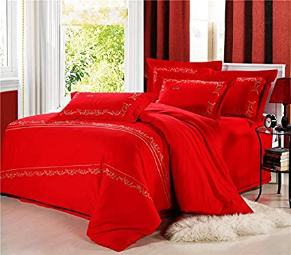 Lt Twin Full Queen Size 100% Cotton Boho Style Bohemian Bright Red For  Women Bedding