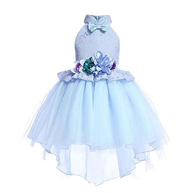 UOMOGO Royal Abito Bambina Principessa Vestito da Cerimonia per Damigella  con Bowknot Floreale Abiti per Matrimonio b090f2bc4af