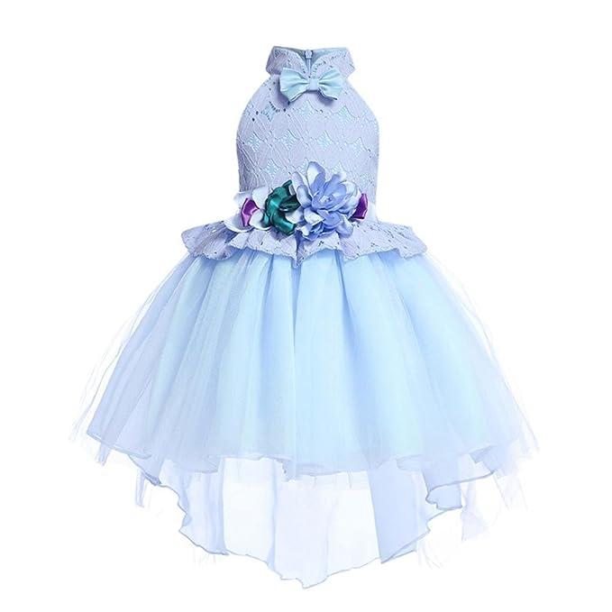 94b455230e31 UOMOGO Royal Abito Bambina Principessa Vestito da Cerimonia per Damigella  con Bowknot Floreale Abiti per Matrimonio