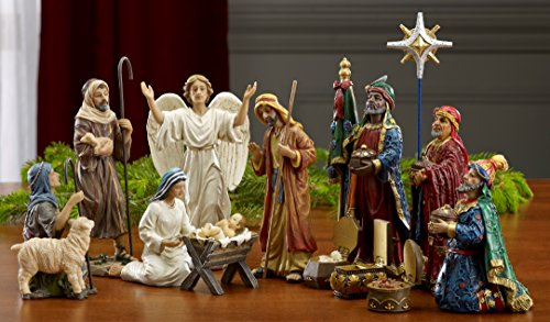 Three Kings Gifts 14-Piece The Real Life Nativity, 7-Inch]()