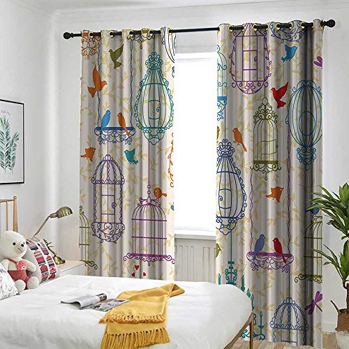 AndyTours Vintage Decor Collection Blackout Curtain Vintage Bird and Birdcases Collection Floral Love and Freedom Theme Illustration Room Darkening Thermal 72