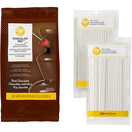 Wilton Chocolate Pro Fountain and Fondue Chocolate with Lollipop Sticks Set, 2-Piece - Chocolate Fondue Set