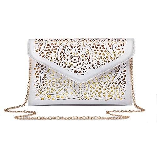 Tote Handbag Pu Flower Chain Evening Shoulder Out White Bag Clutch Envelope Hollow Bag Leather Women's Meliya UA1S77