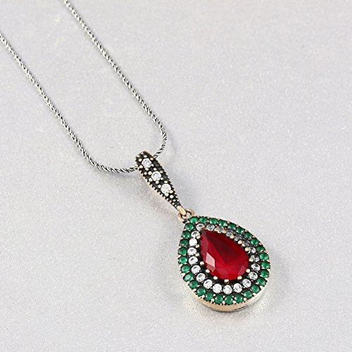 Silver Necklace for Women Handmade Pendant in 925 Sterling with Created Ruby and Emerald Stones 17.4