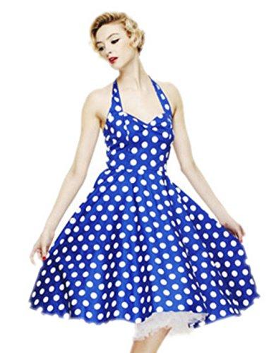 Rockabilly DATO Lunares Falda Hepburn Delgado la 50s Grande de Vestido del Azul Tutú Retro rrgEB