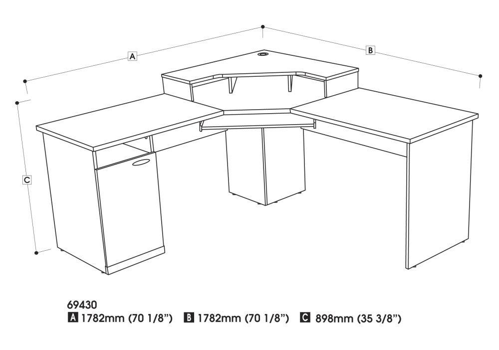 Contemporary L Desk Dimensions Amazoncom Bestar Hampton Corner Workstation For Decorating Ideas