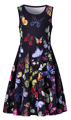 Colorful Animal Dresses for Children Girls Black Design Sleeveless A-line Hawaii Seaside Twirly Dress Skirt 8-9 Years Old