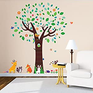 Decowall DML 1312 Large Tree With Animal Friends Kids Wall Stickers Wall  Decals Peel And Stick Removable Wall Stickers For Kids Nursery Bedroom  Living Room Part 87