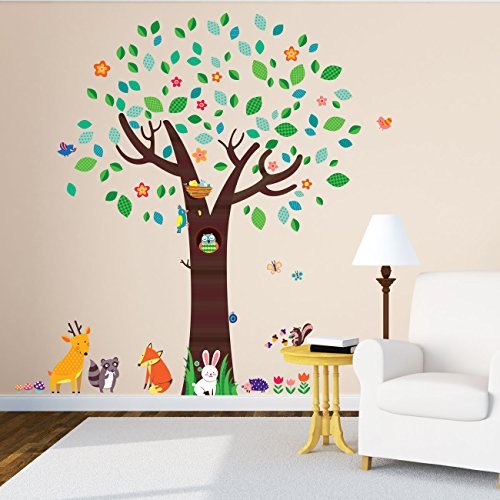 (Decowall DM-1312 Large Tree with Animal Friends Kids Wall Decals Wall Stickers Peel and Stick Removable Wall Stickers for Kids Nursery Bedroom Living Room)