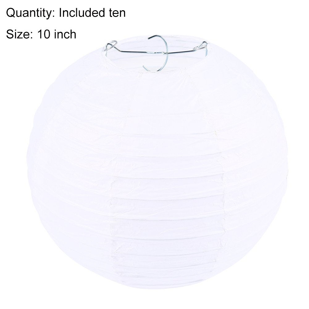 10 pcs 8'' 10'' 12'' colorful Chinese paper Lantern for Home Lamps, Party, Event Wedding Party Decoration By ZJchao (White, 10'')