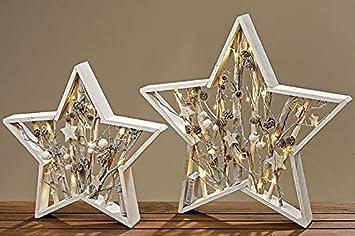 Tamia Home LED Objekt Aufsteller Weihnachten Deko Modern Stern Holz Carry  H37cm (8320400