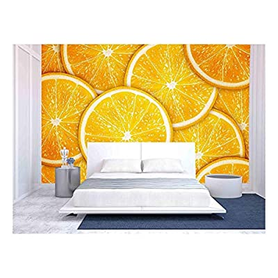 Orange Fruit Slices Background - Removable Wall Mural | Self-Adhesive Large Wallpaper - 100x144 inches