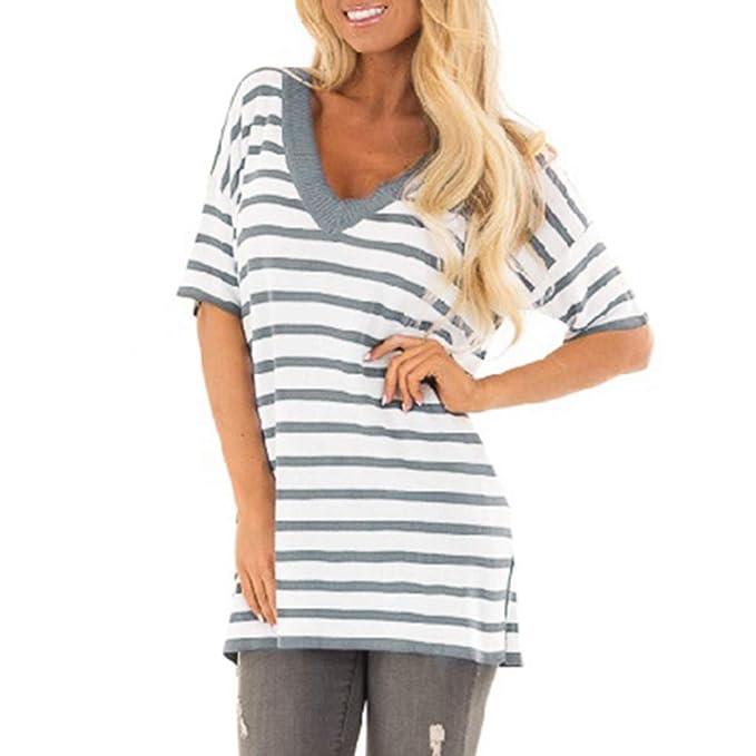 ... Camiseta de Mujer Manga Corta Cuello en V Arriba Raya Imprimiendo Blusa Convencional Salvaje Tops La Moda Blusa Ocio Blusa: Amazon.es: Ropa y accesorios