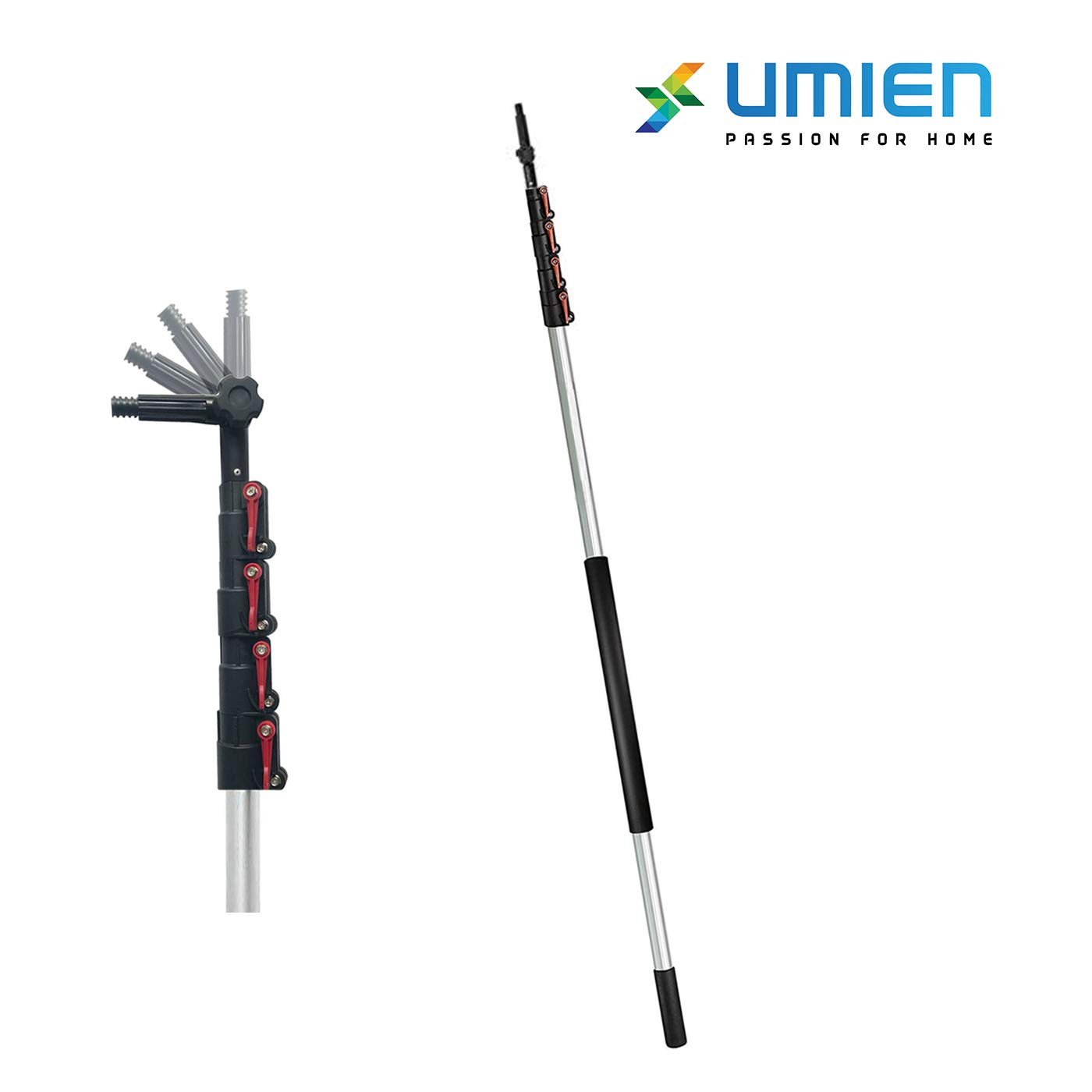 6-24 Foot Telescopic Extension Pole - Multi Functional Pole, Paint Roller, Light Bulb Changer, Duster Pole, Antenna Pole, Hanging Lights, Window and Gutter Cleaning - Includes Free Feather Duster by UMIEN
