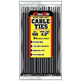 Pro Tie B4ULD100 4-Inch Ultra Light Duty Standard Cable Tie, UV Black Nylon, 100-Pack