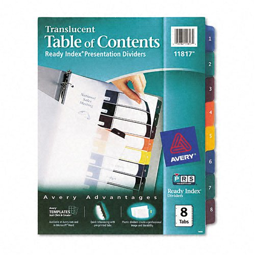 Avery : Ready Index Table/Contents Dividers, Eight-Tab, Letter, Assorted, 8 per Set -:- Sold as 2 Packs of - 8 - / - Total of 16 Each