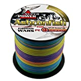 Ashconfish Super Strong Braided Fishing Line-4 Strands Fishing Wire 100M/109Yards Fishing String 70LB-Abrasion Resistant Incredible Superline Zero Stretch Small Diameter -Multi-color