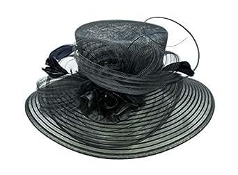 ChicHeadwear Womens Sinamay Crown Organza Hat w/Ribbon and Drawstring - Black
