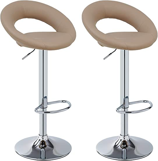 Duhome 2 PCS Contemporary Barstools Synthetic Leather Swizzle Swivel Hydraulic Adjustable Bar Stools Kitchen Counter Top Chair Khaki