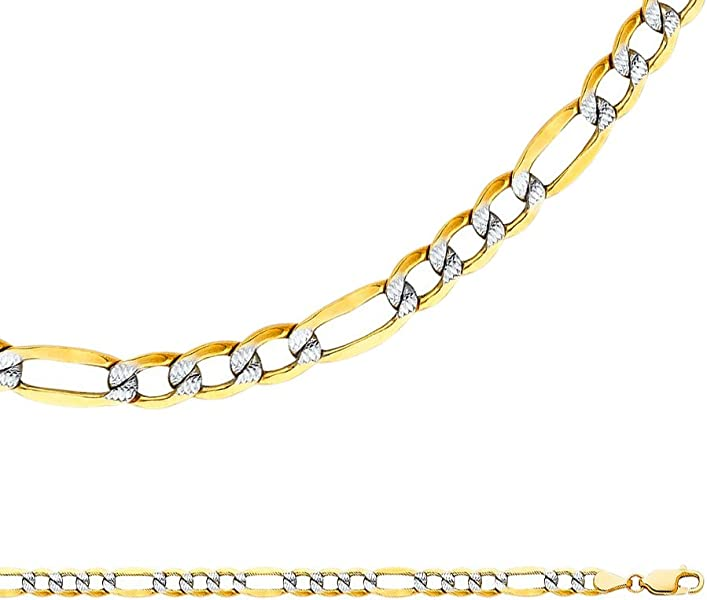 40eb061ee238 Solid 14k Yellow White Gold Necklace Figaro Chain Pave Hollow Diamond Cut  Two Tone 5 mm