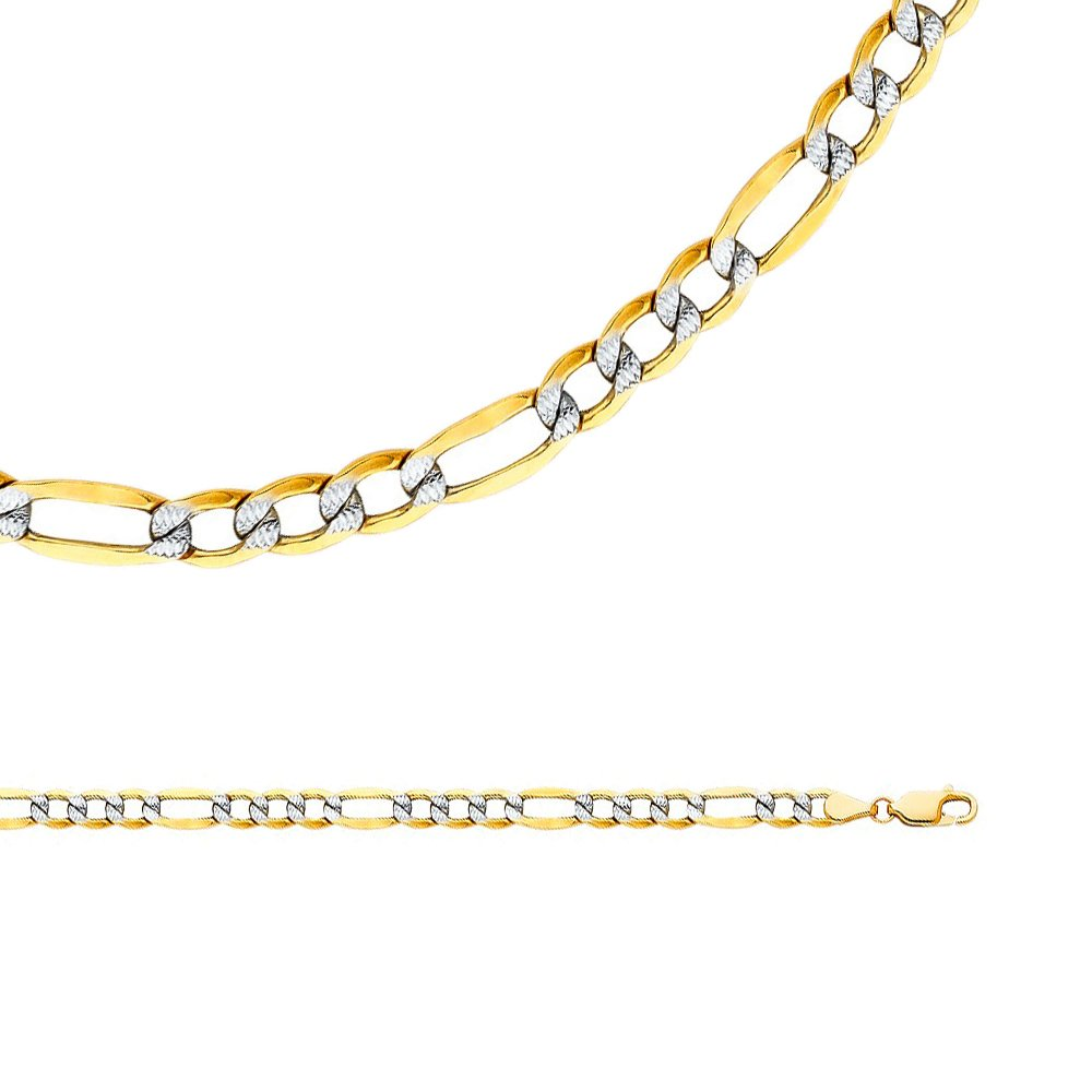 Solid 14k Yellow White Gold Necklace Figaro Chain Pave Hollow Diamond Cut Two Tone 5 mm 26 inch