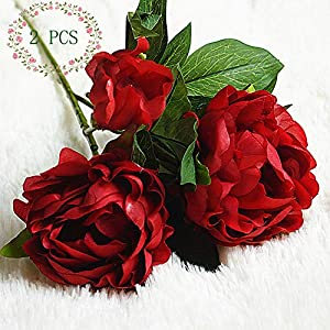 Artificial Rose 2PCS Fake Flowers Bouquet 13 Heads/Bundle with Leaves Real Looking Rose for Wedding Home Party Living Room Hotel Decorations (Rose-Red) 66