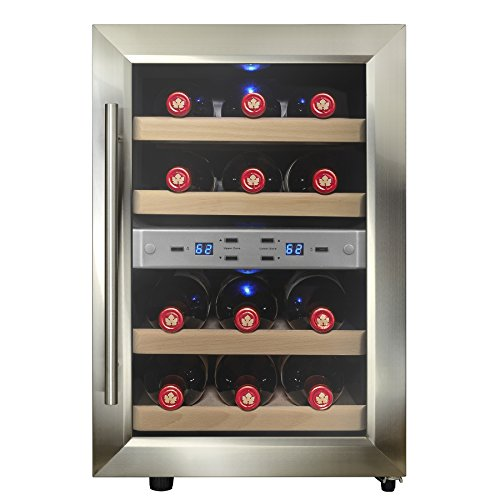 Firebird 12 Bottles Dual Zone Reversible Doors Stainless Steel Finish Wooden Shelves Freestanding Electric Wine Cooler Cellar (Stainless Steel Wine Cooler compare prices)