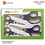 Mysonder Scissors 4 Set - Shears for Office, School, Kitchen, Sewing, Art and Craft Activities - Features Durable Design, Comfort Grip and Razor Sharp Blades