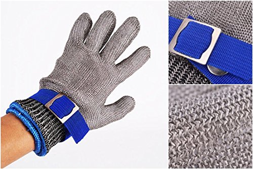 1 Sets (Not a Pair) Deluxe Popular New Stainless Steel Gloves Butcher Protect High Strength Metal Stab-Resistant Color Silver-Blue Size (Deluxe Spiderman 2 Kids Costume Gloves)