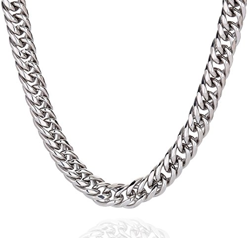 High Polished 9MM 16 Inches Stainless Steel Double Curb Chain Necklace Jewelry for Mens Womens