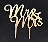 Mirror Gold Acrylic Wedding Cake Topper Party Decoration Cupcake Stand (Mirror Gold - Mr & Mrs(2)) by szunsion