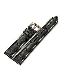 iStrap 21mm Calfskin Padded Watch Band Tan Stitch Rose Gold Metal Buckle for Men Women - Black