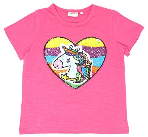 Unicorn Flip Heart Sequin Girls T-Shirt with Flip Sequin Unicorn Headband 4-12 Years (8, Hot Pink Shirt Only)