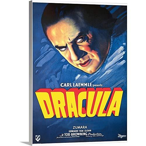 Dracula's Head Blue Canvas Wall Art Print, - Head Dracula